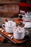 Bebida do Natal Chocolate quente com marshmallows e canela no fundo de madeira fotografia de stock