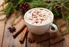 Bebida do Natal Copo do cacau quente com marshmallows fotos de stock royalty free