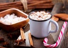 Bebida do Natal Copo do chocolate quente com marshmallows imagens de stock