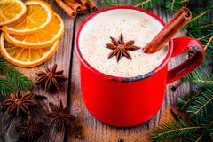 Bebida do Natal: gemada com canela e anis na caneca vermelha imagem de stock royalty free