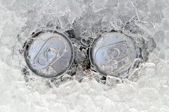A bebida dois pode congelado submerso no gelo de geada Imagens de Stock