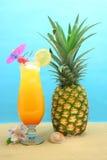 Bebida e abacaxi Fotografia de Stock