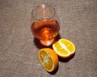 Bebida e laranja Foto de Stock Royalty Free