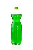Bebida efervescente em uma garrafa plástica isolada no branco fotos de stock
