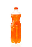 Bebida efervescente em uma garrafa plástica isolada no branco fotos de stock royalty free