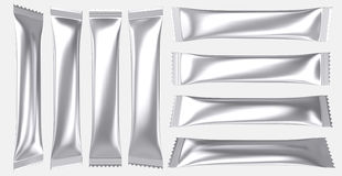 Bebida en blanco del polvo de la bolsa de plástico de la hoja de plata Foto de archivo libre de regalías