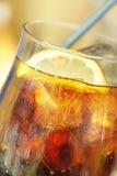 Bebida fría con el limón y el hielo Imagen de archivo
