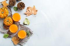 Bebida fresca del cóctel de la bebida del jugo del otoño de la calabaza de la acción de gracias Fotografía de archivo