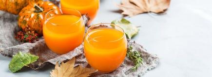 Bebida fresca del cóctel de la bebida del jugo del otoño de la calabaza de la acción de gracias Imagen de archivo