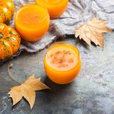 Bebida fresca del cóctel de la bebida del jugo del otoño de la calabaza de la acción de gracias Fotos de archivo