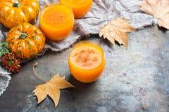 Bebida fresca del cóctel de la bebida del jugo del otoño de la calabaza de la acción de gracias Foto de archivo libre de regalías