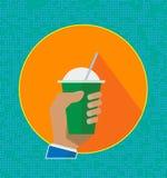 Bebida fresca del smoothie de la fruta, iconos Bebida sana Ejemplo plano del vector del estilo del batido de leche lindo de la hi libre illustration