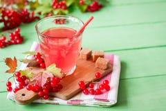 Bebida fresca del viburnum en vidrio en fondo de madera verde con las hojas y las bayas Fotografía de archivo