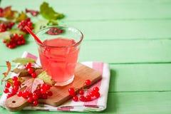 Bebida fresca del viburnum en vidrio en fondo de madera verde con las hojas y las bayas foto de archivo