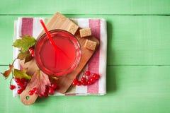 Bebida fresca del viburnum en vidrio en fondo de madera verde con las hojas y las bayas Imagen de archivo