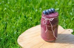 Bebida fresca do batido com bagas diferentes como o café da manhã saudável Imagem de Stock Royalty Free