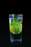 Bebida fresca do limão com a hortelã no fundo preto Fotografia de Stock Royalty Free