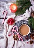 Bebida hecha en casa del chocolate caliente o del cacao Fotografía de archivo