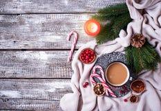 Bebida hecha en casa del chocolate caliente o del cacao Foto de archivo libre de regalías