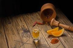 Bebida mexicana de Mezcal con las rebanadas anaranjadas y sal del gusano en Oaxaca México Foto de archivo libre de regalías