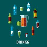 Bebida no alcohólica plana con las bebidas del subtítulo Imagen de archivo libre de regalías