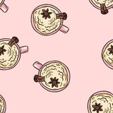 Bebida sabrosa del café con canela y el modelo inconsútil azotado de la historieta linda poner crema Teja del fondo de la textura libre illustration