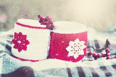 bebida Té de dos tazas, fondo de la nieve del invierno imagen de archivo libre de regalías