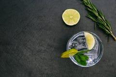Bebida tónica del cóctel de la ginebra con el backgrou verde de cristal de la oscuridad de la cal del hielo imagen de archivo libre de regalías