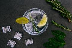 Bebida tónica del cóctel de la ginebra con el fondo oscuro de cristal del hielo fotografía de archivo libre de regalías