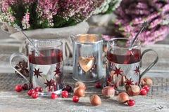 Bebida, urze, porcas e arandos do Natal imagem de stock