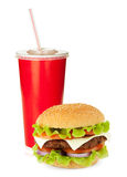 Bebida y hamburguesa de los alimentos de preparación rápida Imagenes de archivo