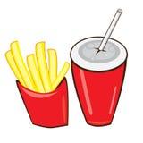 Bebida y patatas fritas. stock de ilustración