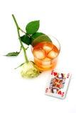 Bebida y tarjetas Foto de archivo