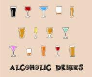 Bebidas alcohólicas en un estilo del garabato Fotografía de archivo