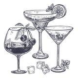 Bebidas alcohólicas fijadas Fotos de archivo libres de regalías