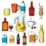Bebidas, alcohol y bebidas clasificados Fotografía de archivo