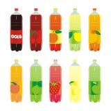 Bebidas carbónicas aisladas fijadas Foto de archivo libre de regalías