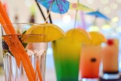 Bebidas coloreadas multi Imagen de archivo