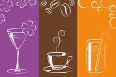 Bebidas coloridas del café y de la limonada del cóctel libre illustration