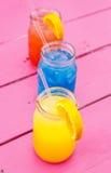 Bebidas coloridas do verão Foto de Stock Royalty Free