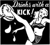 Bebidas com um pontapé ilustração do vetor