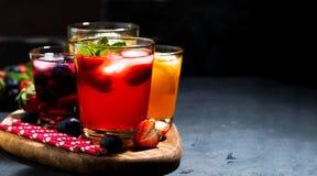 Bebidas de la fruta y de la baya con hielo en el surtido Foto de archivo libre de regalías
