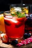 bebidas de la fruta y de la baya con hielo en el surtido, vertical Imagen de archivo