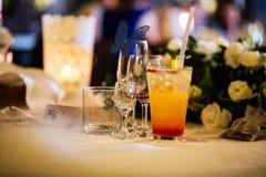 Bebidas de la tabla Foto de archivo