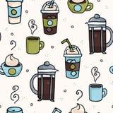 Bebidas del cafeína de la repetición del café del vector diversas del ejemplo inconsútil del modelo ilustración del vector