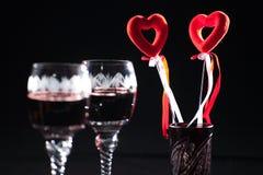 Bebidas del día de tarjeta del día de San Valentín Imagen de archivo
