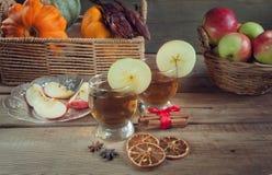 Bebidas del otoño con las especias Imagen de archivo libre de regalías
