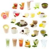 Bebidas diferentes isoladas em um fundo branco Fotografia de Stock
