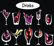 Bebidas do álcool ajustadas imagens de stock royalty free