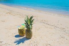Bebidas do abacaxi em um dia claro Imagens de Stock
